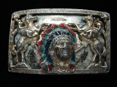 QK01112 VINTAGE 1960s **INDIAN CHIEF & TWO COWBOYS** OLD WEST BELT BUCKLE