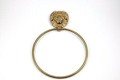 Vintage Solid Brass Lion Head Towel Holder Ring