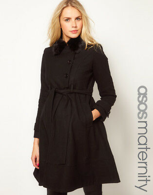 Asos Gorgeous Black Maternity Swing Trench Coat- Size 6 Fur Collar Belted Euc!