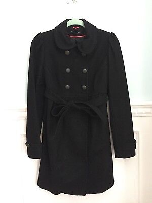 H&M Mama Wool Blend Maternity Coat Small  Double-Breasted Belted Military EUC!