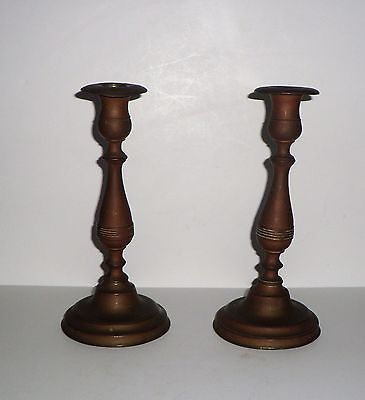 Antique  Colonial   Brass   Primitive Candle Stick Holders
