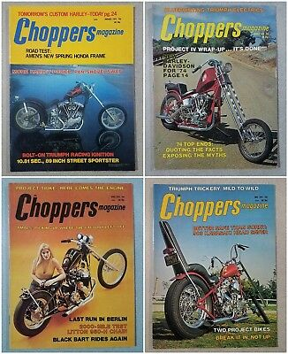 Lot of 4 Vintage Choppers Motorcycle Magazines From 1974