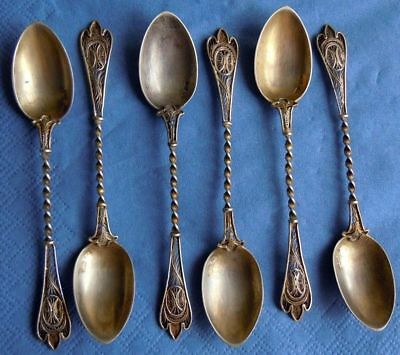 FABERGE Antique Imperial RUSSIAN Filigree Tea Spoons Moscow hallmark,84 silver