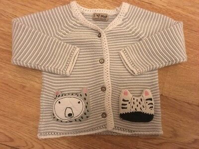 Next Baby Girls Knitted Bear & Zebra Cardigan 9-12 Months