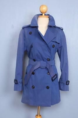 Womens BURBERRY Double Breasted Short TRENCH Coat Mac Blue 8/10