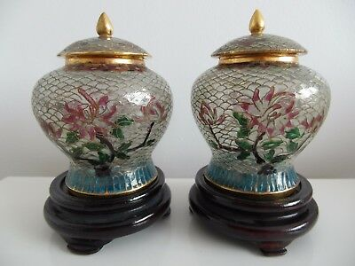 Chinese Famille Rose Plique- A -Jour Chrysanthemum & Cherry Blossom  Vases