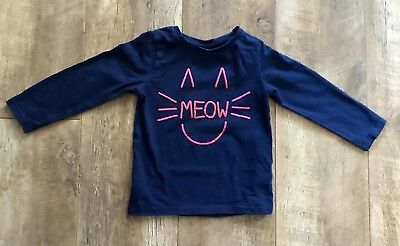 Girls Navy Cat Long Sleeved Top, Aged 3-4