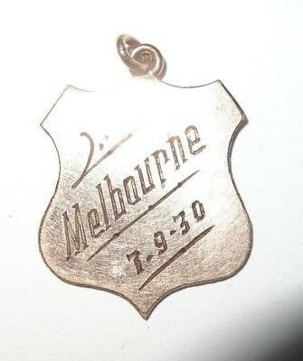 Gold watch fob / pendant. Melbourne 1930. Unmarked but tesst for 9ct gold. 2.5CM