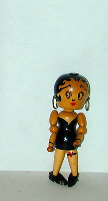 "Betty Boop Miniature 3 1/4"" Tall  Wood Jointed Figure Doll Czechoslovakia 1930s"