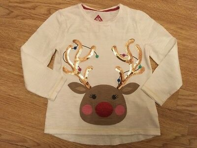 F & F Girls Light Up Reindeer Sequinned Christmas Top Age 2-3 Years Vgc