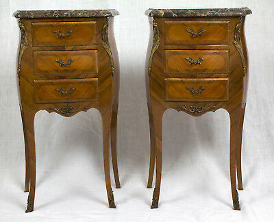 Pair French Antique Louis XV Inlaid Black Marble Nightstands (Chevets), Signed