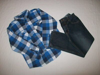 Boys Checked Shirt and Denim Jeans Bundle (Size = Age 10 - 11 Years)