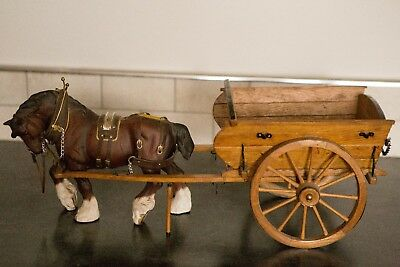 Beswick  Shire  Horse  And Wooden Hand Made Cart