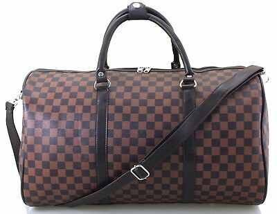 Large Italian Leather Style Holdall Weekend Luggage Duffel Cabin Travel Bag Case