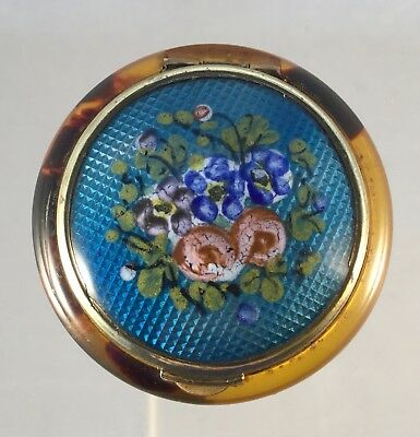 Antique French Enamel Patch, Trinket, Pill Box, Compact. Mirror Inside.