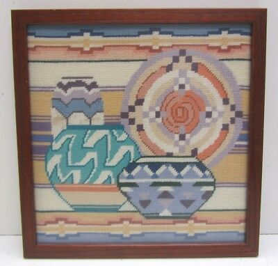 VINTAGE Framed Handmade Native Tribal Southwest Pottery Needlepoint Artwork