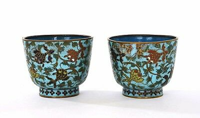 Pair of 19C Chinese Gilt Cloisonne Enamel Tea Wine Cup with Goldfish Fish