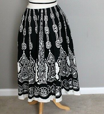 Vintage 80s Does 50s Circle Skirt Mexican Sequin Black White Peacocks Lot of 3