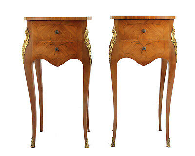 Pair of Vintage French Louis XV Inlaid Two-Drawer Nightstands (Chevets)