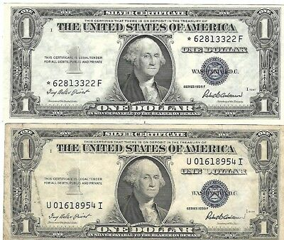 4 US Silver Certificates $1.00 $4.00 face value Star Notes 1935-1957