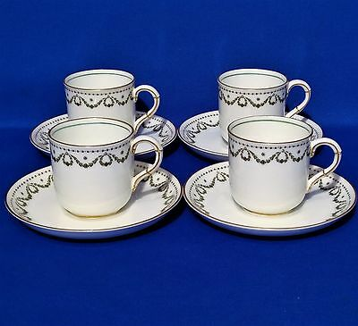 Antique GEORGE JONES Crescent Ivory - 4 x COFFEE CUPS & SAUCERS - Alfred Pearce