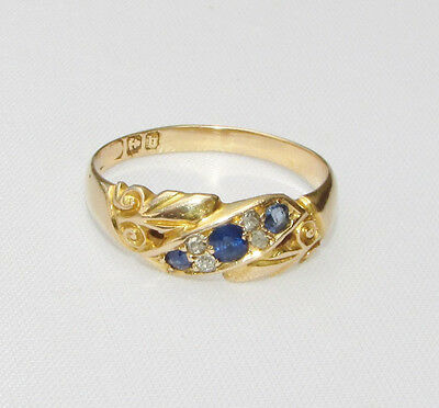 Old antique Edwardian 18ct gold diamond sapphire ring size N 1/2 - O 1901-02