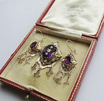 Old antique Victorian 9ct gold paste earring and pendant / brooch set
