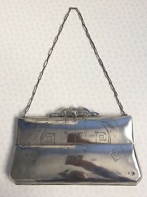 Russian 84 Silver Evening Clutch Purse Bag with Chain Handle 1908 - 1924 Antique