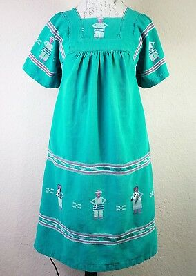 Mexican Guatemalan Handmade Dress Boho Ethnic Distressed Green Size XS 70's (E2)