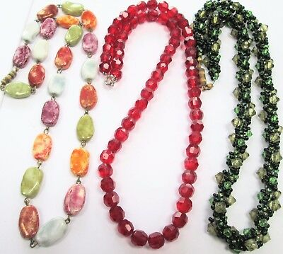 Good vintage Deco gold metal & agate glass bead necklace + 2