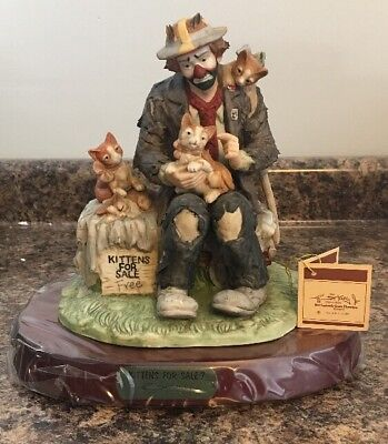 Signed - Emmett Kelly Jr Kittens For Sale Figurine Limited Edition NEW