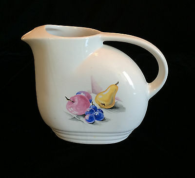Knowles Utility Ware Refrigerator Jug Fruits Pattern No Lid Red Blue Yellow USA