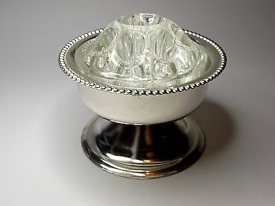 Vintage English Durham Crystal Silver Plated Rose Bowl with Fitted Glass Frog