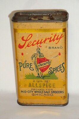 Nice Old Early Tin Litho Security Brand Allspice Advertising Spice Tin Can