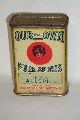 Nice Old Early Tin Litho Tall Our Own Brand Allspice Advertising Spice Tin Can