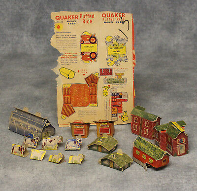 1950's Quaker Puffed Rice Model Farm Cereal Box Back + Assembled Pieces