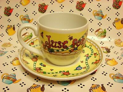 "Vintage Mary Engelbreit Tea Coffee Cup & Saucer ""just For Today Be Happy"" Beauty"