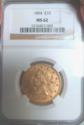1894  $10 Gold Liberty Ngc Certified In Ms62~Classic Gold Design~Investment Coin