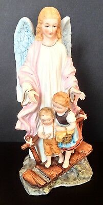 Vtg Ceramic RR Roman Angel W/ Children Figurine~Japan~Original Tag~Hand Painted!