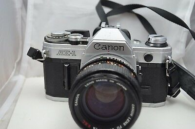 Canon AE-1 Silver Body 35mm SLR Camera FD 50mm 1.4 SSC lens fr