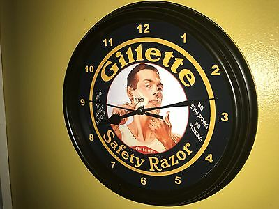 ***Gillette Shave Razors Barber Shop Man Cave Advertising Wall Clock Sign
