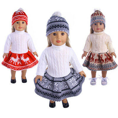 18inch Doll Clothes for American Girl Today Dolls Sweater+ Skirt + Beanie Hat