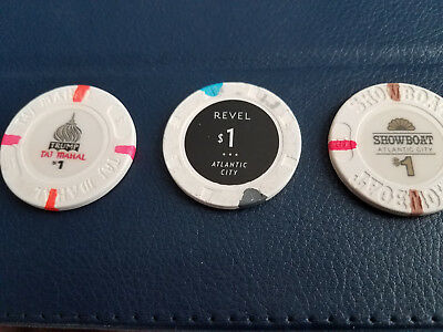 Closed Atlantic City Casino Chips - $1 - Trump Taj Mahal, Revel, Showboat