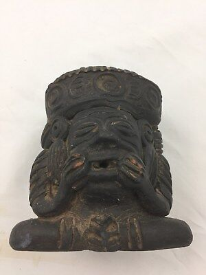Ancient Mayan/Pre Columbian Pottery Effigy Trophy Head/Cup