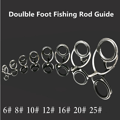 7pcs SEA CastingFishing Rod Tips Guides Ring Stainless Eye Guide Pole Repair Kit