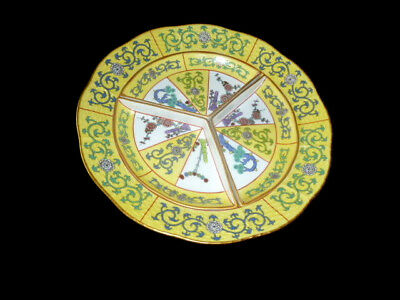 """Herend Hungary YELLOW DYNASTY 10"""" Plate with Removable 3-Sections  - Excellent"""