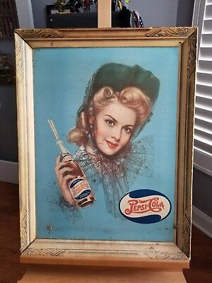 Rare HTF Pepsi Cola Self Framed Cardboard Advertising Store Front Early 1900's