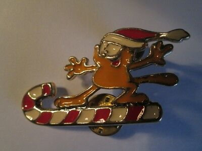 Garfield Riding A Christmas Candy Cane Pin New Old Stock