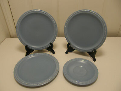 Four Authentic Catalina Island Pottery Rope edge Plates, Blue with mat finish