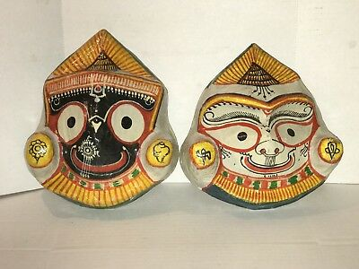 Vintage Wall Mask Hanging Decor Paper Mache Hand Painted Asian Masks (2)